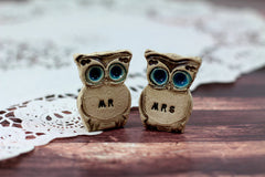 Owls Wedding cake topper -Mr & Mrs owls Cute cake topper Wedding gift - Ceramics By Orly  - 4
