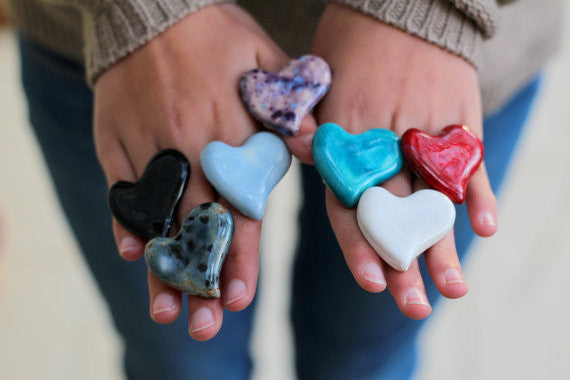 Heart ring - Ceramic jewelry - Ceramic ring - Valentine