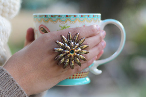 Boho chic ring Big ring Ceramic jewelry Flowers ring Golden ring - Ceramics By Orly  - 1