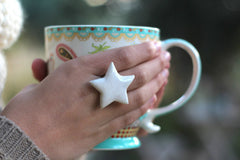 Star ring Ceramic jewelry Ceramic ring White ring Statement ring Cocktail ring White star - Ceramics By Orly  - 2
