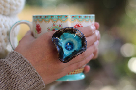 Boho jewelry One of a kind turquoise and brown ceramic ring - Ceramic jewelry Big ring