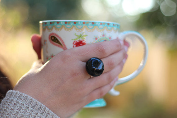 Black ring - Ceramic jewelry - adjustable cocktail ring Boho chic jewelry