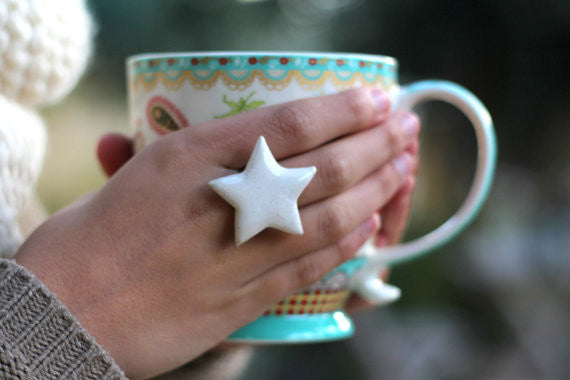 Star ring Ceramic jewelry Ceramic ring White ring Statement ring Cocktail ring White star - Ceramics By Orly  - 1