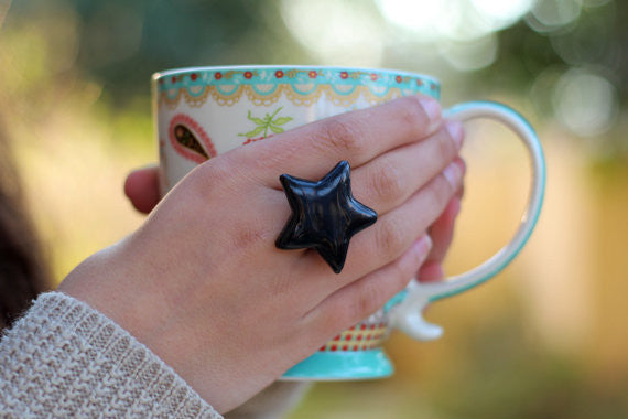 Star ring Ceramic jewelry Ceramic ring Black ring Black star - Ceramics By Orly  - 1