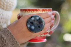 Blue ring - OOAK Adjustable cocktail ring Boho chic jewelry - Ceramics By Orly  - 2
