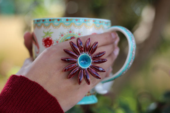 Marsala Flower ring Cocktail ring Big ring Ceramic jewelry