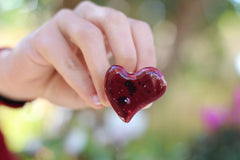 Marsala heart ring Ceramic jewelry Ceramic ring Red heart ring - Ceramics By Orly  - 4