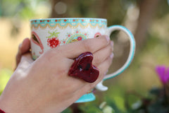 Marsala heart ring Ceramic jewelry Ceramic ring Red heart ring - Ceramics By Orly  - 3
