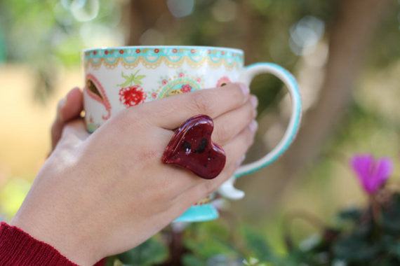 Marsala heart ring Ceramic jewelry Ceramic ring Red heart ring - Ceramics By Orly  - 1