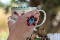 Marsala Flower ring Cocktail ring Big ring Ceramic jewelry Romantic jewelry Boho chic jewelry - Ceramics By Orly  - 4