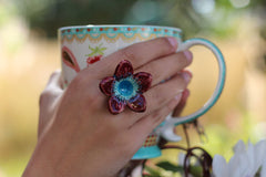Marsala Flower ring Cocktail ring Big ring Ceramic jewelry Romantic jewelry Boho chic jewelry - Ceramics By Orly  - 1