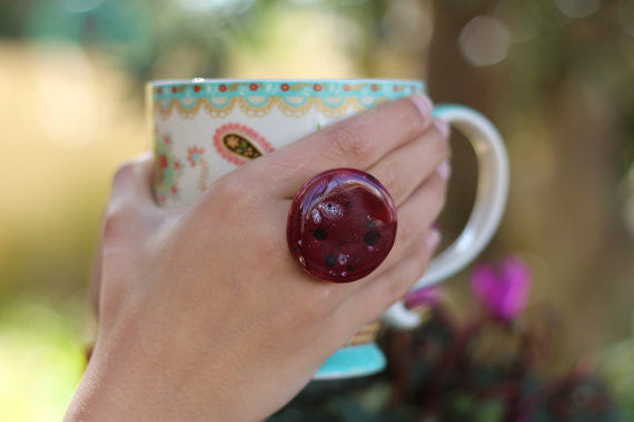 Geometric jewelry Marsala ring Ceramic jewelry - adjustable cocktail ring Boho chic jewelry Round ring