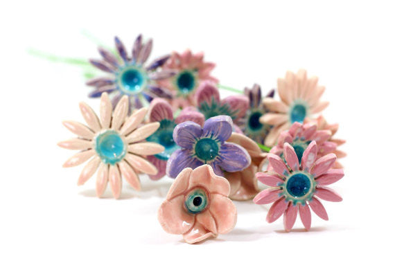 Wedding decor Wedding centerpiece Flowers decorations Spring decor Ceramic flowers