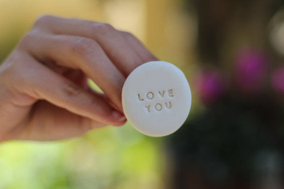 Love you ring Inspirational jewelry Engraved ring Words ring Personalized jewelry Quote jewelry Gift for her - Ceramics By Orly  - 1