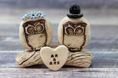 MR & MRS Owls cake topper Rustic bride and groom love birds cake topper - Ceramics By Orly  - 1