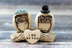 MR & MRS Owls cake topper Rustic bride and groom love birds cake topper - Ceramics By Orly  - 4