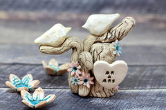 One Love Ceramic Wedding Cake Topper - Love Birds on Tree with Initials - Ceramics By Orly  - 4