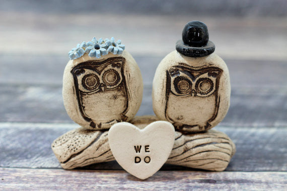 We Do Owls cake topper Rustic bride and groom love birds cake topper - Ceramics By Orly  - 1