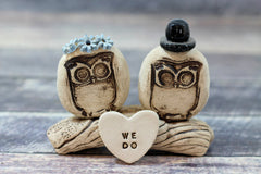 MR & MRS Owls cake topper Rustic bride and groom love birds cake topper - Ceramics By Orly  - 5