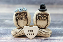 MR & MRS Owls cake topper Rustic bride and groom love birds cake topper - Ceramics By Orly  - 3
