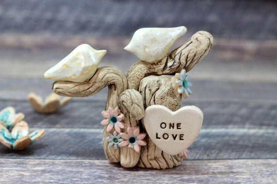 One Love Ceramic Wedding Cake Topper - Love Birds on Tree with Initials