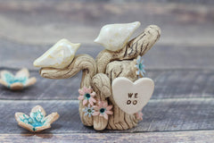 One Love Ceramic Wedding Cake Topper - Love Birds on Tree with Initials - Ceramics By Orly  - 5