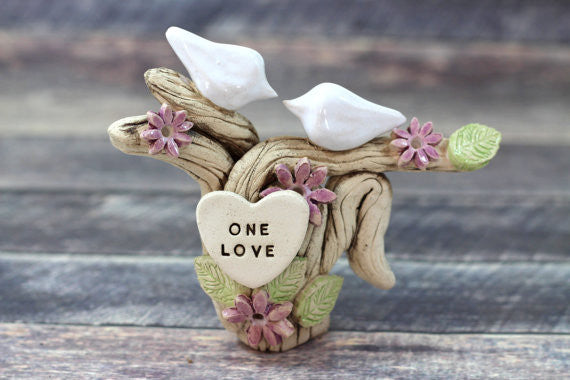 Dove wedding cake topper I DO ME TOO Ceramic Cake Topper - Love Birds rustic cake topper Wedding topper - Ceramics By Orly  - 1
