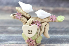 Dove wedding cake topper I DO ME TOO Ceramic Cake Topper - Love Birds rustic cake topper Wedding topper - Ceramics By Orly  - 4