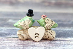 Love bird wedding cake topper, Birds cake topper, Custom cake topper Personalized topper for wedding - Ceramics By Orly  - 4