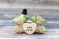 Love bird wedding cake topper, Birds cake topper, Custom cake topper Personalized topper for wedding - Ceramics By Orly  - 2
