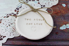 Anniversary gift Two souls One love Ring dish Wedding ring dish - Ring bearer Wedding Ring pillow 1st anniversary gift - Ceramics By Orly  - 3