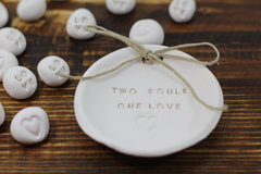 Anniversary gift Two souls One love Ring dish Wedding ring dish - Ring bearer Wedding Ring pillow 1st anniversary gift - Ceramics By Orly  - 2