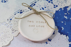 Anniversary gift Two souls One love Ring dish Wedding ring dish - Ring bearer Wedding Ring pillow 1st anniversary gift - Ceramics By Orly  - 5
