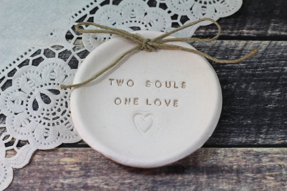 Anniversary gift Two souls One love Ring dish Wedding ring dish - Ring bearer Wedding Ring pillow 1st anniversary gift - Ceramics By Orly  - 1