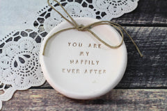 Anniversary gift Ring dish Wedding ring dish - Ring bearer Wedding Ring pillow - Ceramics By Orly  - 2