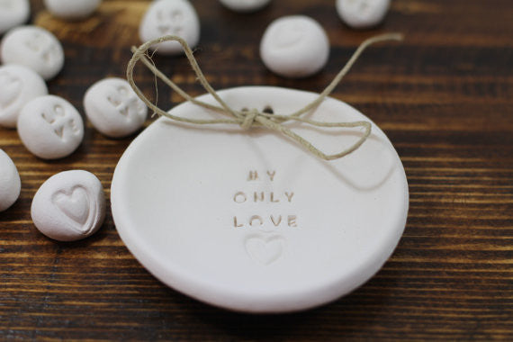 Anniversary gift My only love Ring dish Wedding ring dish - Ring bearer Wedding Ring pillow 1st anniversary gift - Ceramics By Orly  - 1