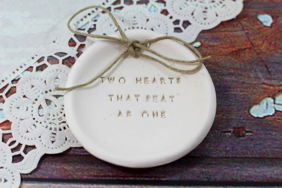 Anniversary gift Two hearts that beat as one Ring dish Wedding ring dish - Ring bearer Wedding Ring pillow 1st anniversary gift - Ceramics By Orly  - 1