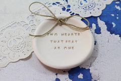 Anniversary gift Two hearts that beat as one Ring dish Wedding ring dish - Ring bearer Wedding Ring pillow 1st anniversary gift - Ceramics By Orly  - 3