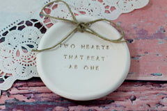 Anniversary gift Two hearts that beat as one Ring dish Wedding ring dish - Ring bearer Wedding Ring pillow 1st anniversary gift - Ceramics By Orly  - 2