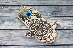 Ceramic Hamsa decoration - Beautiful handmade brown and turquoise Hamsa for Good Luck - Ceramics By Orly  - 1