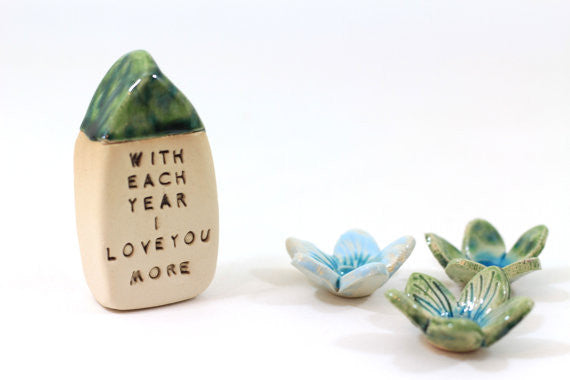 Anniversary gift Personalized gift Engagement gift One year anniversary Anniversary gifts for him anniversary gifts for her Miniature house - Ceramics By Orly  - 1