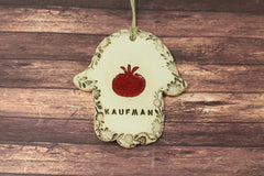 Personalized Ceramic Hamsa decoration Hamsa wall hanging Hamsa Hamsa wall art Red Pomegranate - Ceramics By Orly  - 4