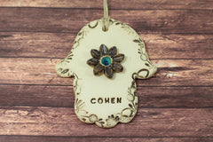 Personalized Ceramic Hamsa decoration Hamsa wall hanging Beautiful handmade brown and turquoise Hamsa Hamsa wall art - Ceramics By Orly  - 4