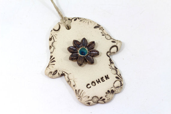 Personalized Ceramic Hamsa decoration Hamsa wall hanging Beautiful handmade brown and turquoise Hamsa Hamsa wall art
