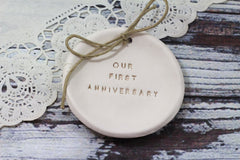 Our first anniversary Anniversary gift Ring dish Ring bearer 1st anniversary gift - Ceramics By Orly  - 5