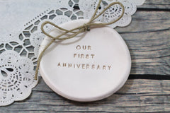 Our first anniversary Anniversary gift Ring dish Ring bearer 1st anniversary gift - Ceramics By Orly  - 2