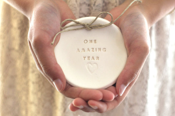 Anniversary gift One amazing year Ring dish Ring bearer 1st anniversary gift - Ceramics By Orly  - 1