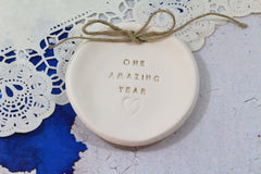 Anniversary gift One amazing year Ring dish Ring bearer 1st anniversary gift - Ceramics By Orly  - 4
