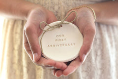 Our first anniversary Anniversary gift Ring dish Ring bearer 1st anniversary gift - Ceramics By Orly  - 1
