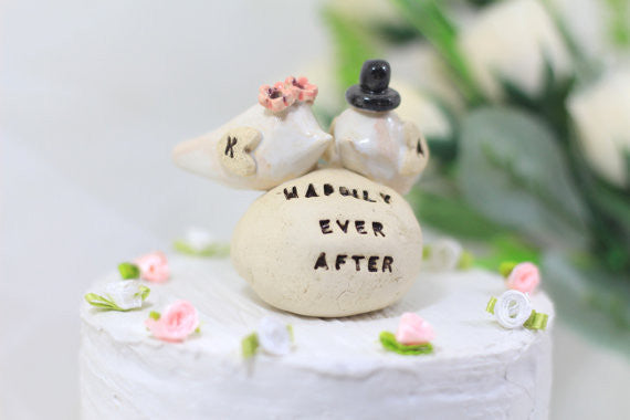 Wedding cake topper Custom love birds - Happily ever after Personalized wedding cake topper
